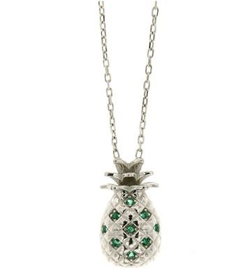 Cosanuova Sterling Silver Pineapple Emerald Necklace