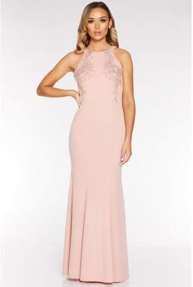 Quiz Pink Halterneck Backless Maxi Dress