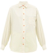 Sies Marjan Emanuela Puffed-sleeve Striped Cotton-blend Shirt - Womens - Beige Stripe