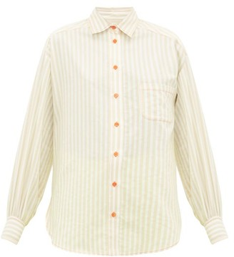Sies Marjan Emanuela Puff-sleeved Striped Cotton-blend Shirt - Beige Stripe