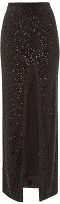 Galvan Modern Love Front-slit Sequinned Maxi Skirt - Black