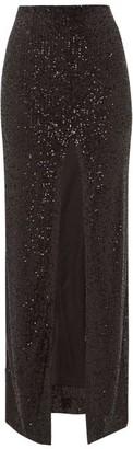 Galvan Modern Love Front-slit Sequinned Maxi Skirt - Womens - Black