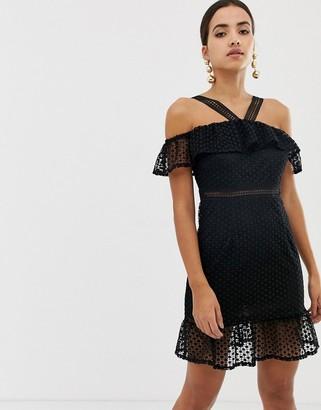 Dolly & Delicious cross neck halter dress-Black