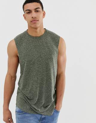 Asos Design DESIGN relaxed sleeveless t-shirt with dropped armhole in linen mix-Green