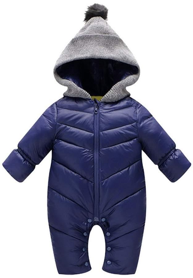 Aivtalk Infant Newborn Baby Hoodie Down Jacket Jumpsuit Snow Suit Winter Zip Up Long Sleeve One-Piece Coat