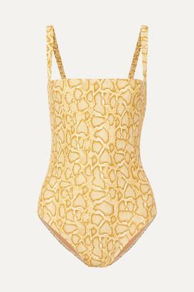 Faithfull The Brand Phoebe Snake-print Swimsuit - Yellow