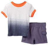 Splendid Dip Dye Ringer Tee & Short Set (Baby Boys)