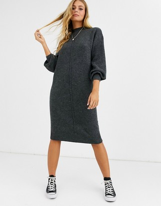 ASOS DESIGN fluffy midi dress with seam detail