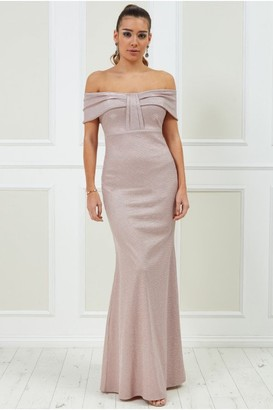 Goddiva Bardot Bow Detail Maxi Dress - Blush