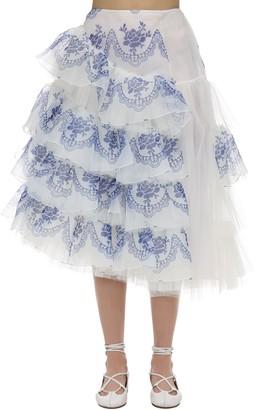 Simone Rocha Printed Ruffle Organza & Tulle Skirt