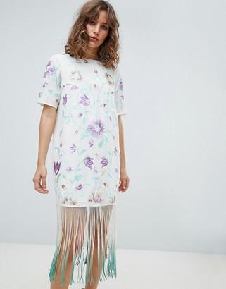Asos DESIGN Embroidered Midi Dress With Tie Dye Fringe