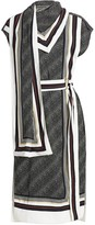 Proenza Schouler Belted Logo-Printed Scarf Dress