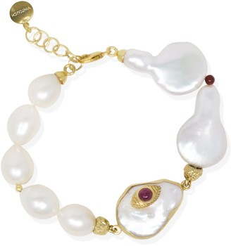Vintouch Italy The Eye Gold-Plated Ruby & Pearl Bracelet