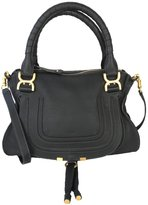 Chloé Marcie Medium Leather Satchel Handbag - Black