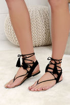 LuLu*s Sun Kiss Black Suede Lace-Up Flat Sandals