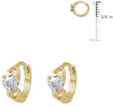 Ice 14K Gold Baby Heart Huggie Hoop Earrings For Girls