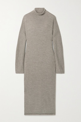 LAUREN MANOOGIAN Oversized Alpaca And Merino Wool-blend Turtleneck Midi Dress - Mushroom