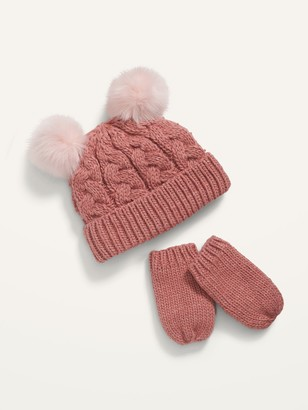 Old Navy Cable-Knit Pom-Pom Beanie and Mittens Set for Toddler Girls