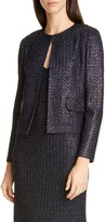 St. John Beaded Metallic Texture Knit Jacket