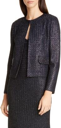 St. John Beaded Metallic Texture Knit Jacket