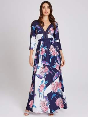 Little Mistress Floral Printed Lace Trim Maxi Dress - Multi