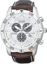 Citizen Men's Eco-Drive Perpetual Calendar Chronograph Brown Leather Strap Watch 44mm BL5470-06A