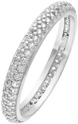 clear Citerna Rhodium Plated Silver Double Row Cubic Zirconia Full Eternity Ring - Size J