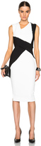 Victoria Beckham Dense Sable Patchwork Fitted Dress
