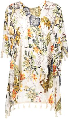 Kollie More Women's Kimono Cardigans White - White & Green Floral Kimono