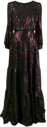 Saloni Metallic-Thread Long Dress