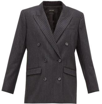 Isabel Marant Meladim Chalk-striped Double-breasted Wool Blazer - Grey