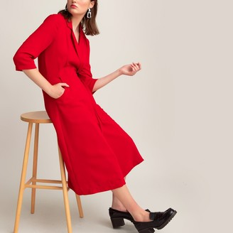 La Redoute Collections Wrapover Midi Dress with Tailored Collar and Long Sleeves