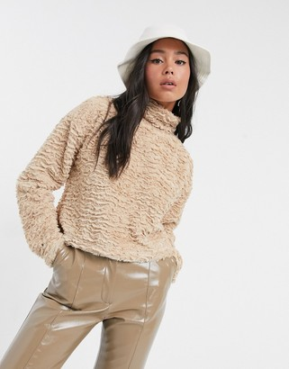 Noisy May textured fluffy top with high neck in camel