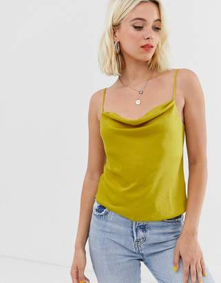 Miss Selfridge cami top with cowl neck in lime