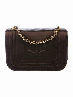 Chanel Vintage Satin CC Flap Bag gold