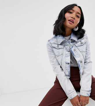 Brave Soul Petite cropped denim jacket in light acid wash