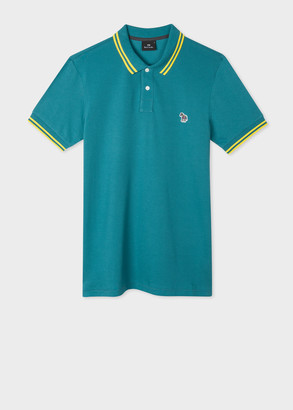 Paul Smith Men's Slim-Fit Teal Zebra Logo Cotton Polo Shirt With Yellow Tipping