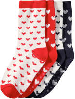 Joe Fresh Toddler Girls' 4 Pack Print Crew Socks, Cream (Size 1-3)