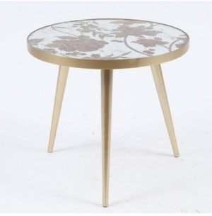 Luxen Home Metal And Mirror Flower Accent Table
