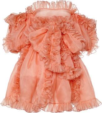 Giambattista Valli Off-The-Shoulder Ruffled Chiffon Mini Dress