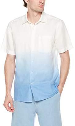 Isle Bay Linens Men's Slim Fit Dip Dye Linen Cotton Blend Short Sleeve Casual Shirt for Vacation Blue