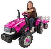 Peg Perego Case IH Magnum Tractor with Trailer Pink