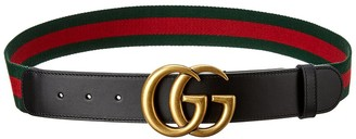Gucci Gg Canvas & Leather Belt