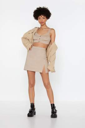 Nasty Gal Womens Slit This One Out High-Waisted Mini Skirt - beige - 14