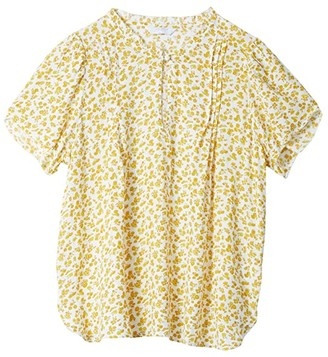 Lucky Brand Tulip Sleeve Crew Neck Printed Top (Yellow Multi) Women's Clothing