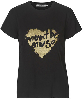 MUNTHE Black Cotton Aroma Jersey T Shirt - 34 - Black/Gold