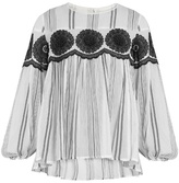 Muveil Floral-embroidered striped cotton-gauze top