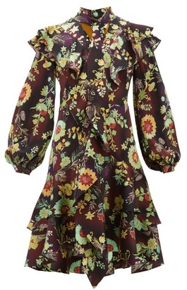 Peter Pilotto Ruffled Floral Silk-cloque Dress - Brown Multi