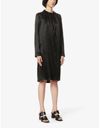 Ann Demeulemeester Cowl-neck satin-crepe midi dress