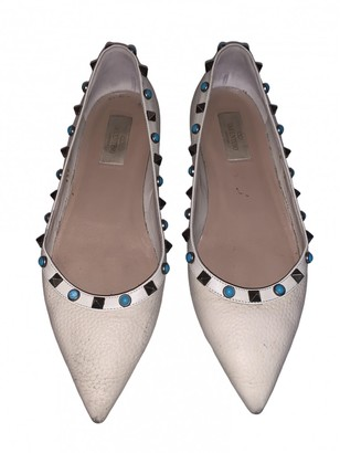 Valentino Rockstud White Leather Ballet flats